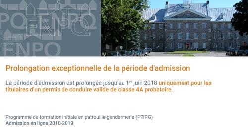 acceptation du permis de conduire probatoire pour l admission 2018 2019 au pfipg enpq. Black Bedroom Furniture Sets. Home Design Ideas